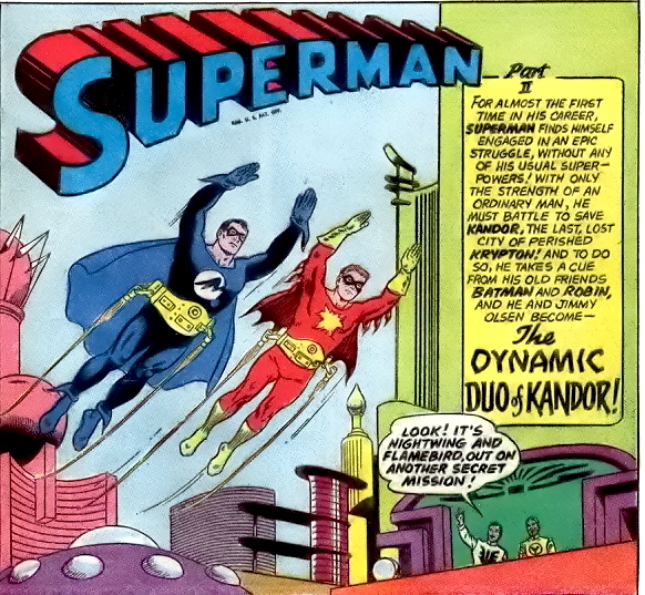 """Superman and Jimmy as """"Nightwing and Flamebird"""", in Superman #166 (January 1964)."""