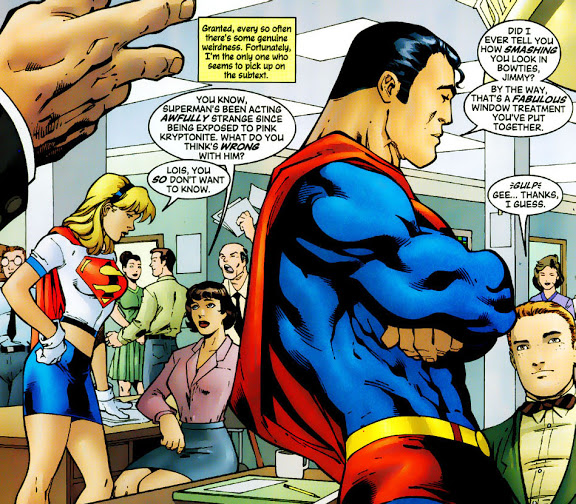 """Supergirl 79, by Peter David, even alludes to a queer relationship between Superman and Jimmy Olsen after being exposed to """"pink kryptonite""""."""